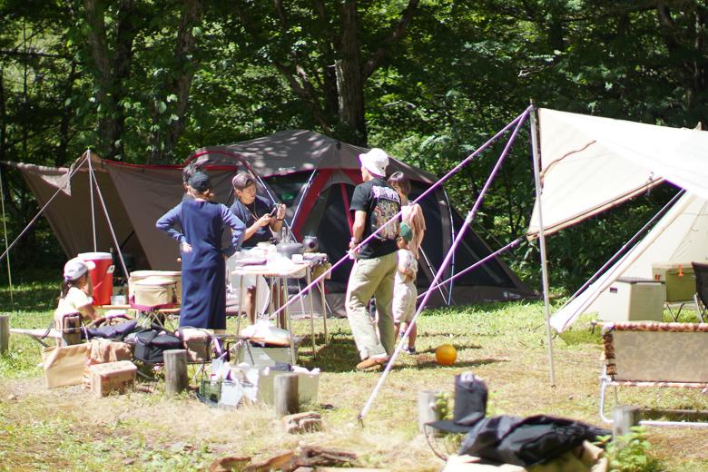 平湯キャンプ場でグループキャンプ