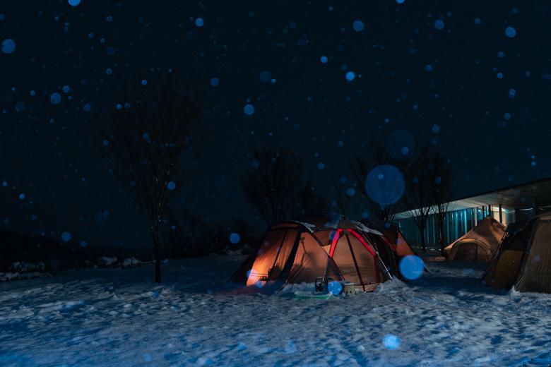 スノーピーク ヘッドクオーターで雪の撮影