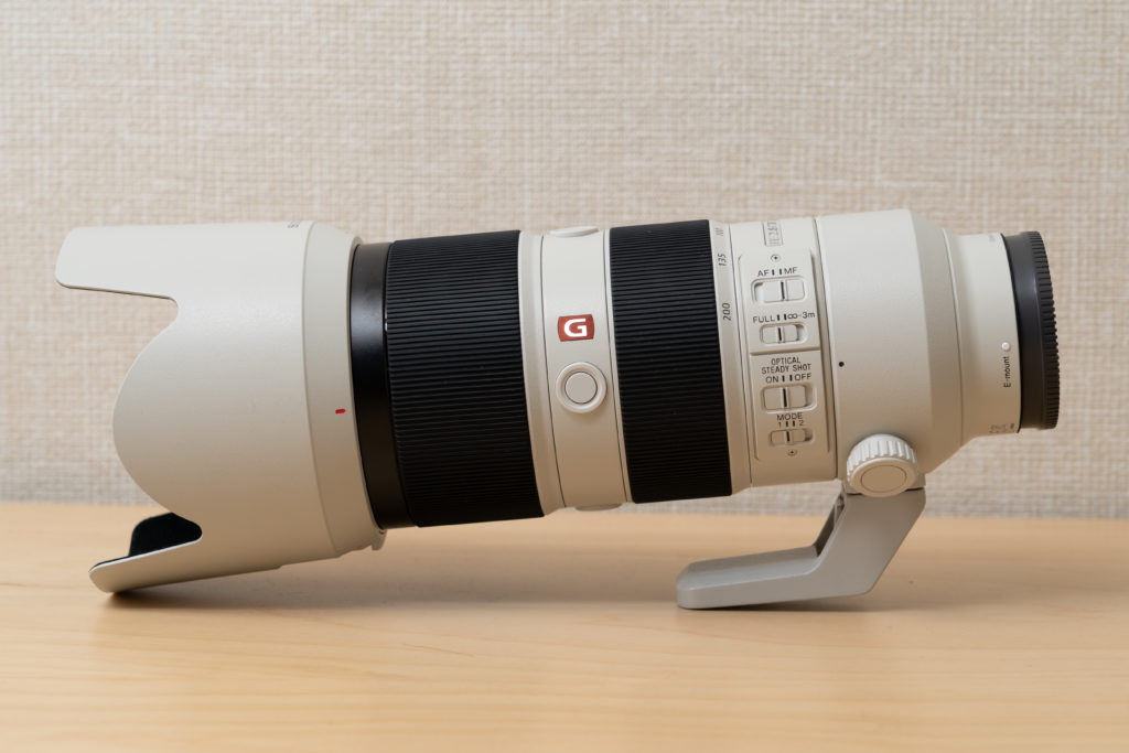 SONY FE 70-200mm F2.8 GM OSSに純正三脚座がついた状態