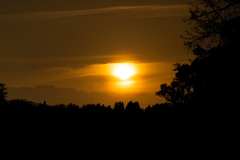 上和田緑地キャンプ場へ行く途中の夕日