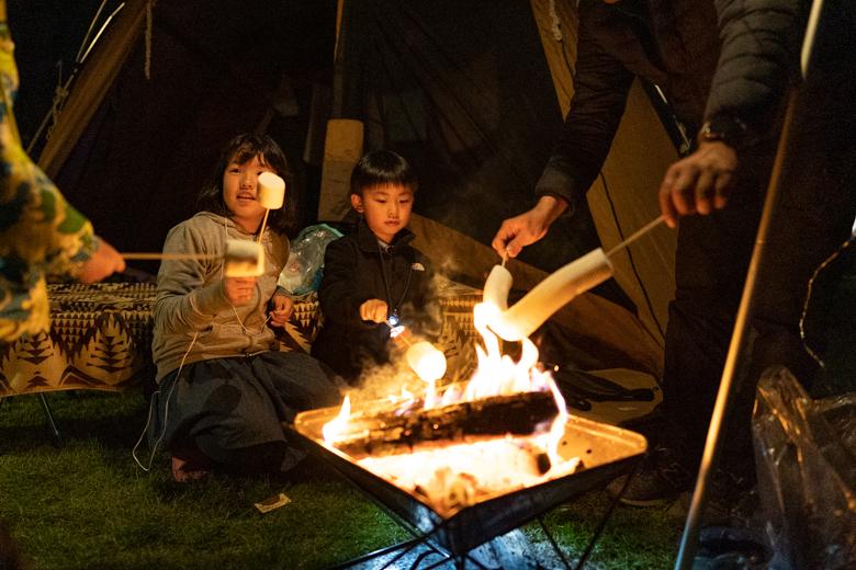 北軽井沢スウィートグラスで焚き火