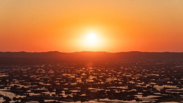 となみ夢の平 散居村展望台から見る夕陽