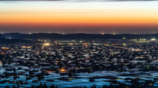 散居村と夕焼け